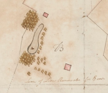 Detail of Thomas Mathews A Map of the Lands of Donnycarney (1770) Facsimile. Details of original: Pen and ink and watercolour on paper, 38 x 41 cm, Dublin City Library and Archives