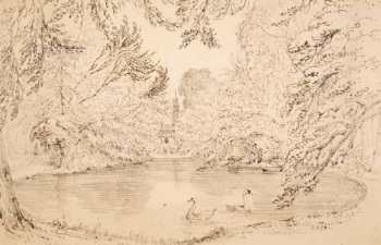 Samuel Frederick Brocas (c. 1792–1847) Rosamond's Bower: Lord Charlemont (c. 1820) Facsimile. Details of original: Graphite on paper, 25.8 x 39 cm. National Library of Ireland
